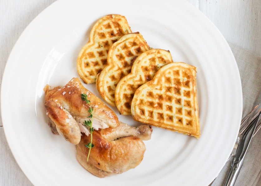 brined roast chicken bacon chive waffles