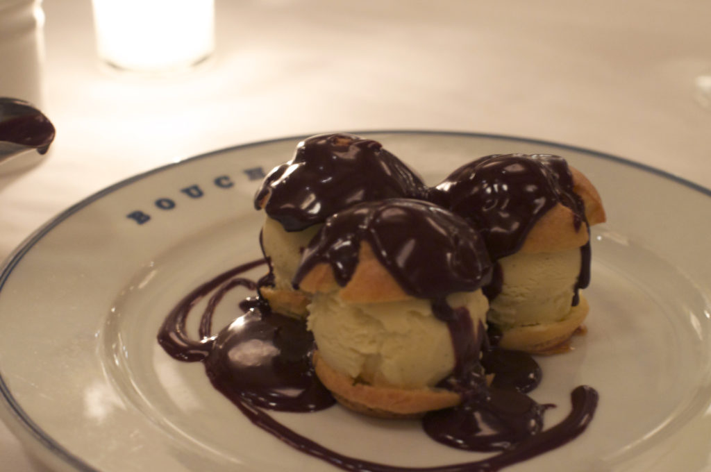 profiteroles filled with ice-cream at Bouchon Las Vegas
