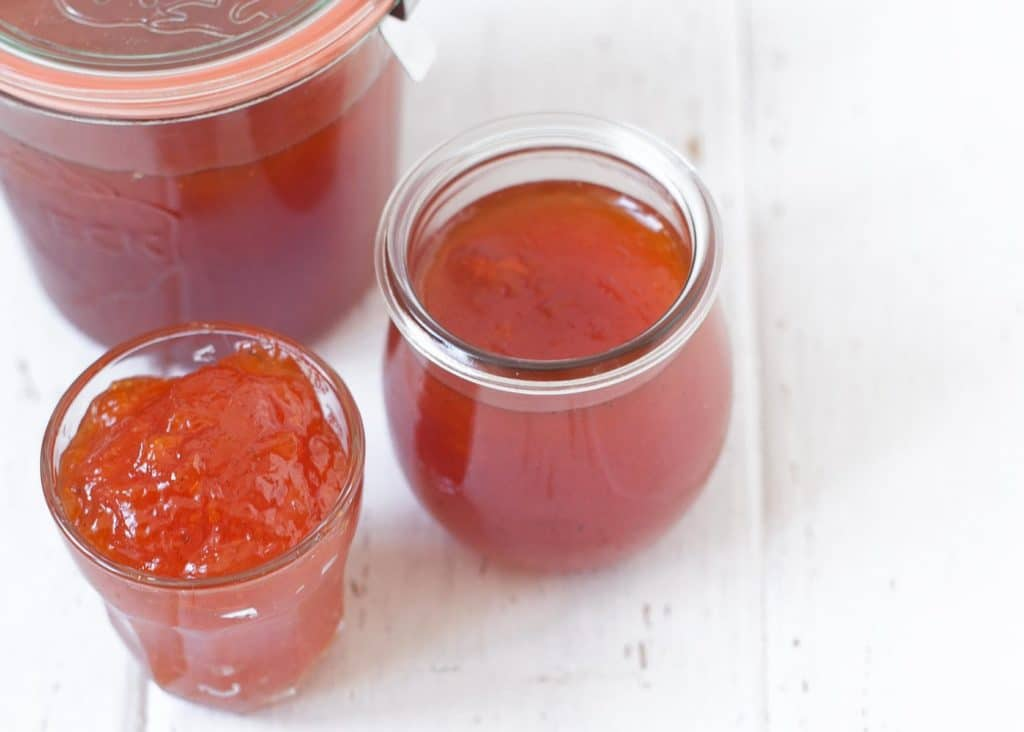 homemade apricot jam in weck jars