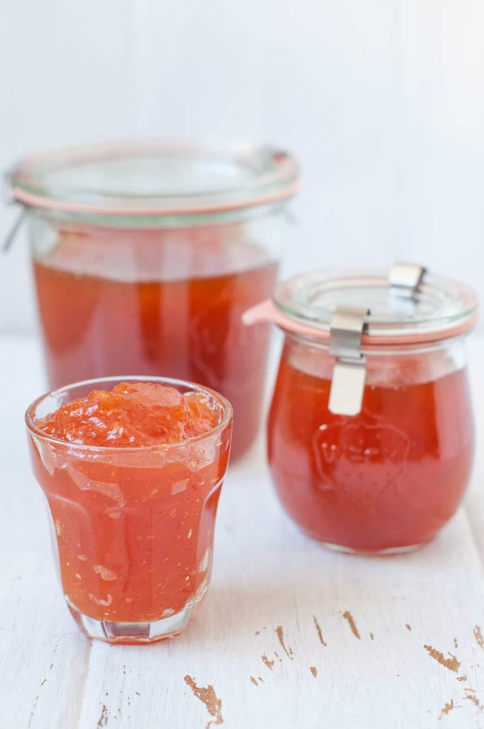 homemade apricot jam in weck jars and small glass jar