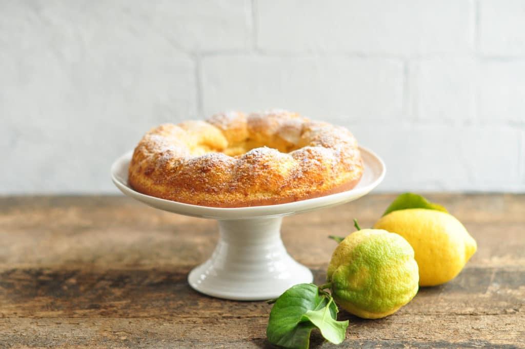 gluten free lemon cake with fresh lemons