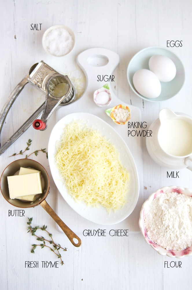 ingredients for savoury waffles with cheese