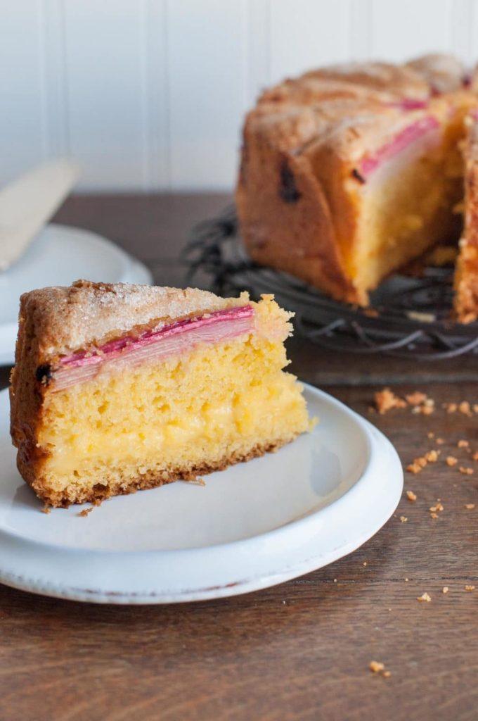 slice of rhubarb custard tea cake