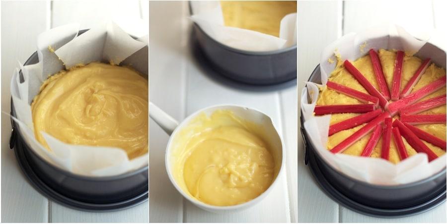 rhubarb custard tea cake step-by-step photos