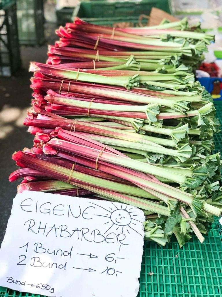 fresh rhubarb at the farmers markets