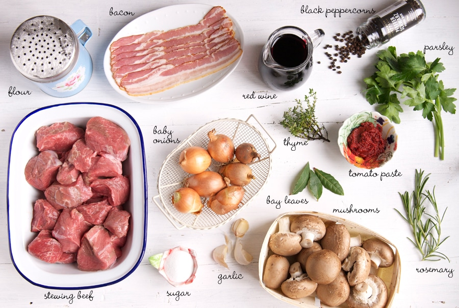 ingredients for beef bourguignon