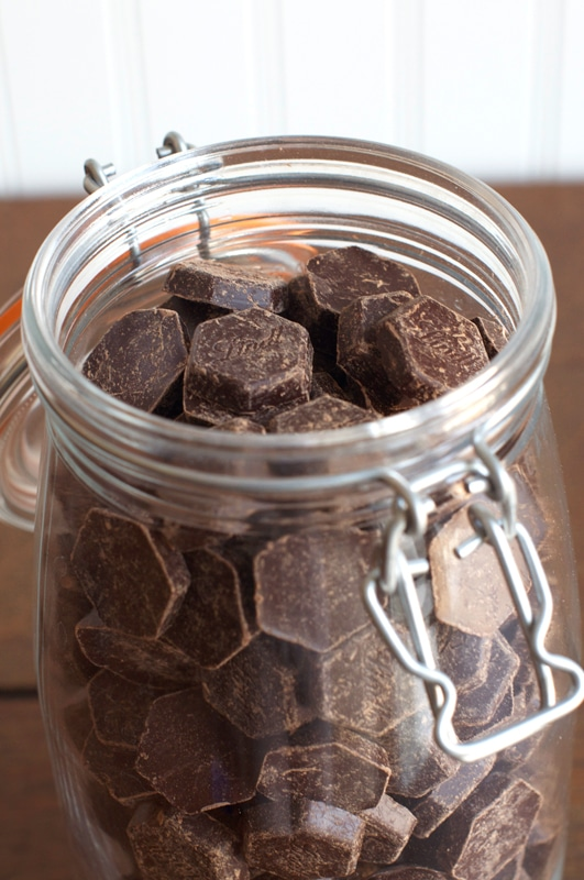 glass jar of lindt dark chocolate buttons