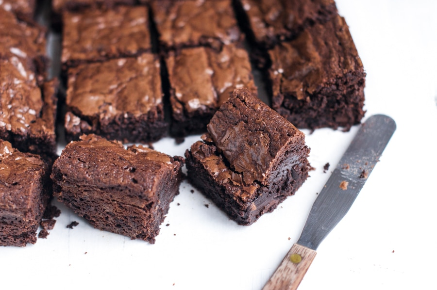 easy chocolate brownies cut into squares