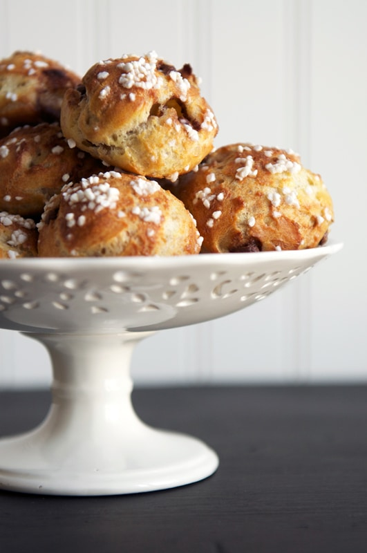 chocolate chip chouquettes with pearl sugar