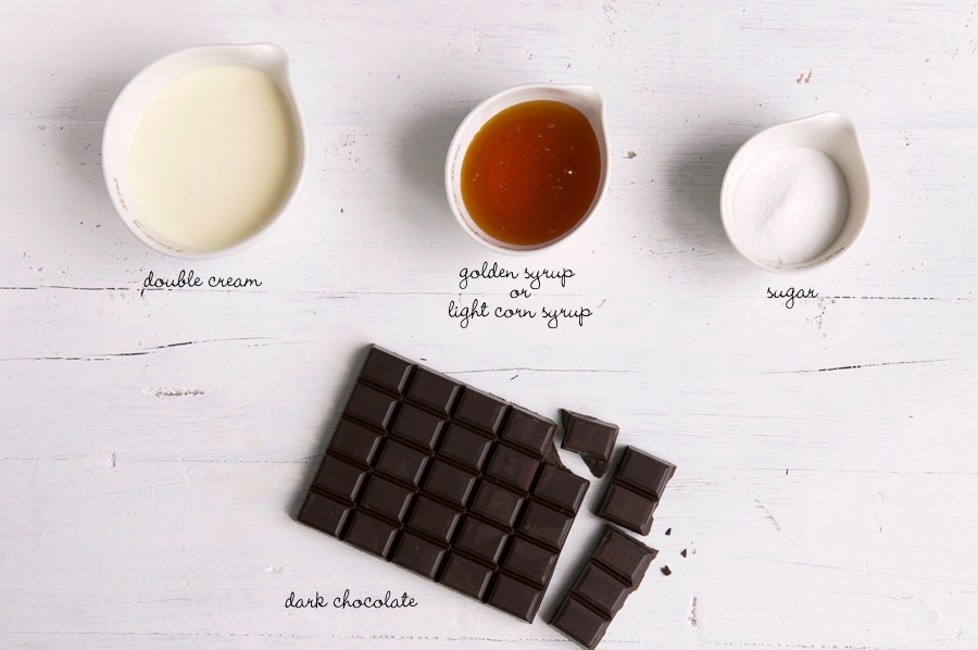 ingredients for chocolate ganache frosting