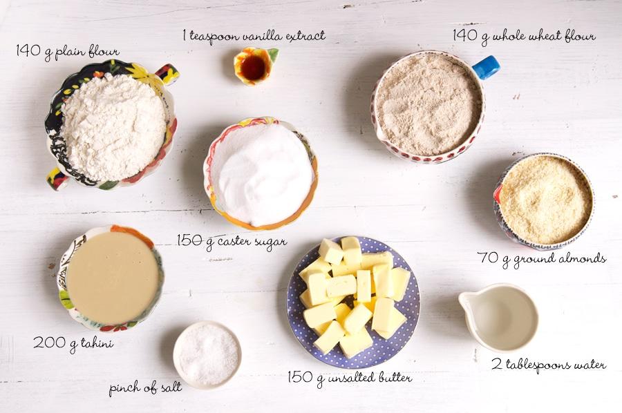 ingredients for tahini cookies
