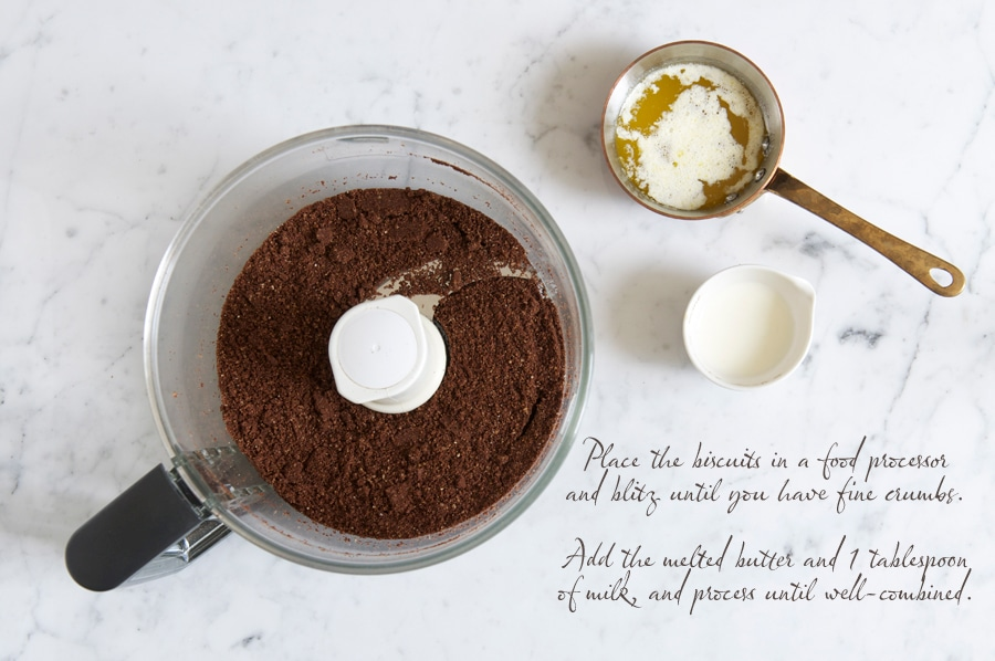 making a cheesecake biscuit base in food processor