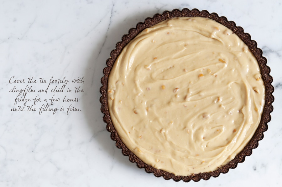 a chocolate biscuit base filled with peanut butter cheesecake filling