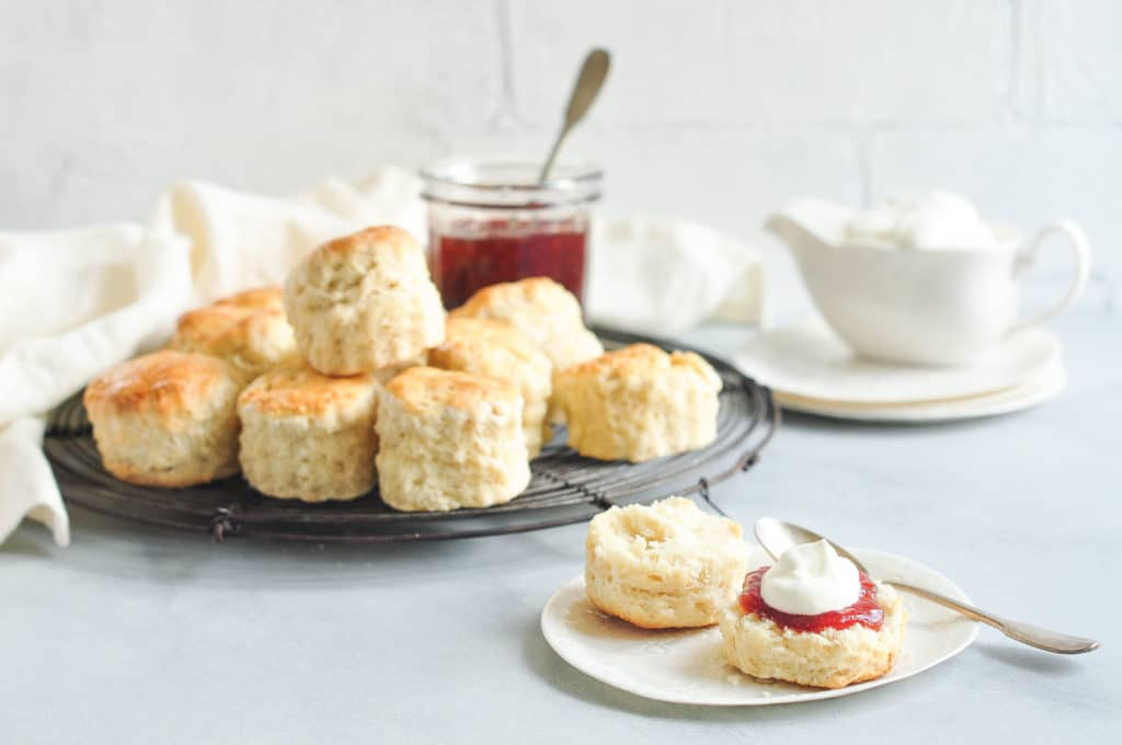 plain scones on vintage wire rack