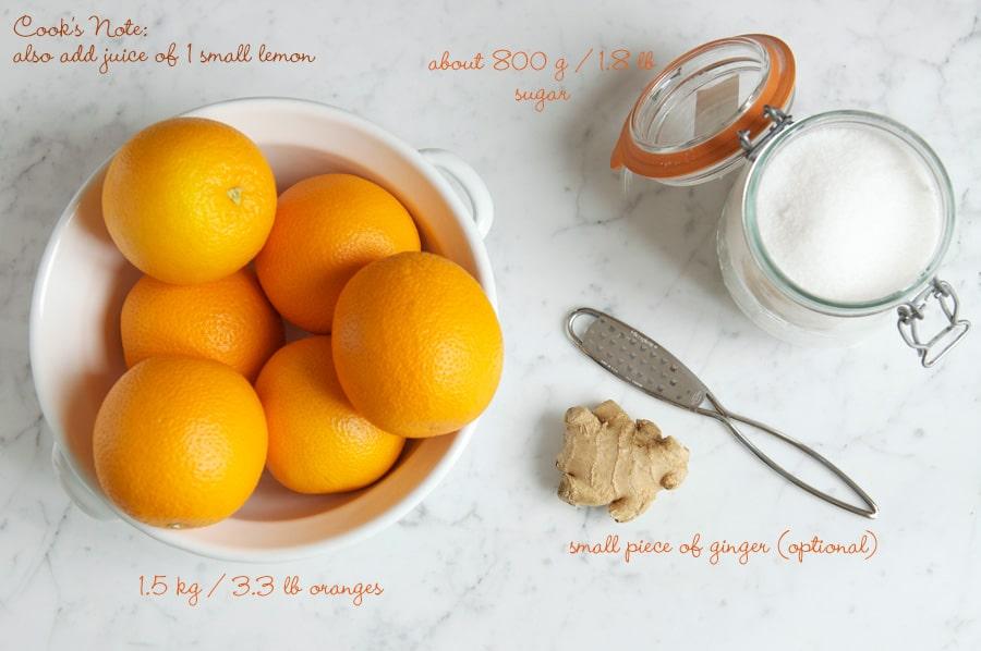 ingredients for orange marmalade
