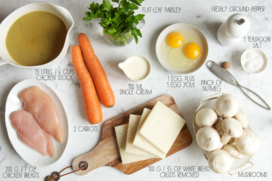 ingredients for chicken dumpling soup