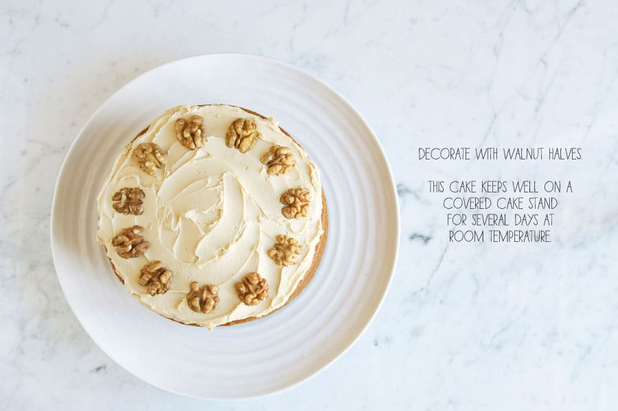 step by step photos for making coffee and walnut cake