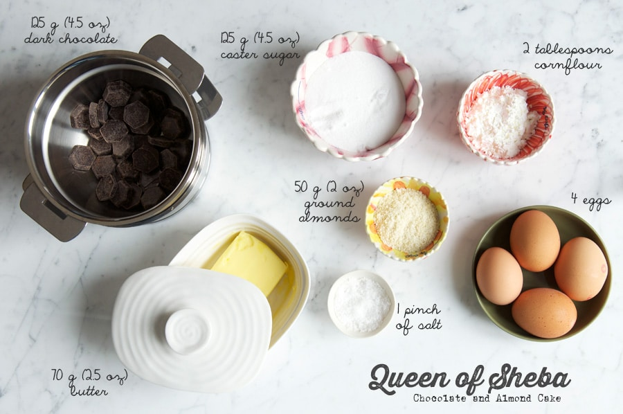 ingredients for queen of sheba cake, reine de saba