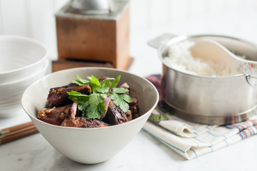 vietnamese pork ribs in bowl
