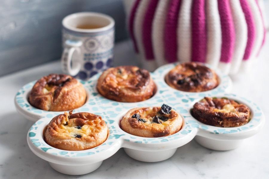 custard tarts in ceramic muffin tray