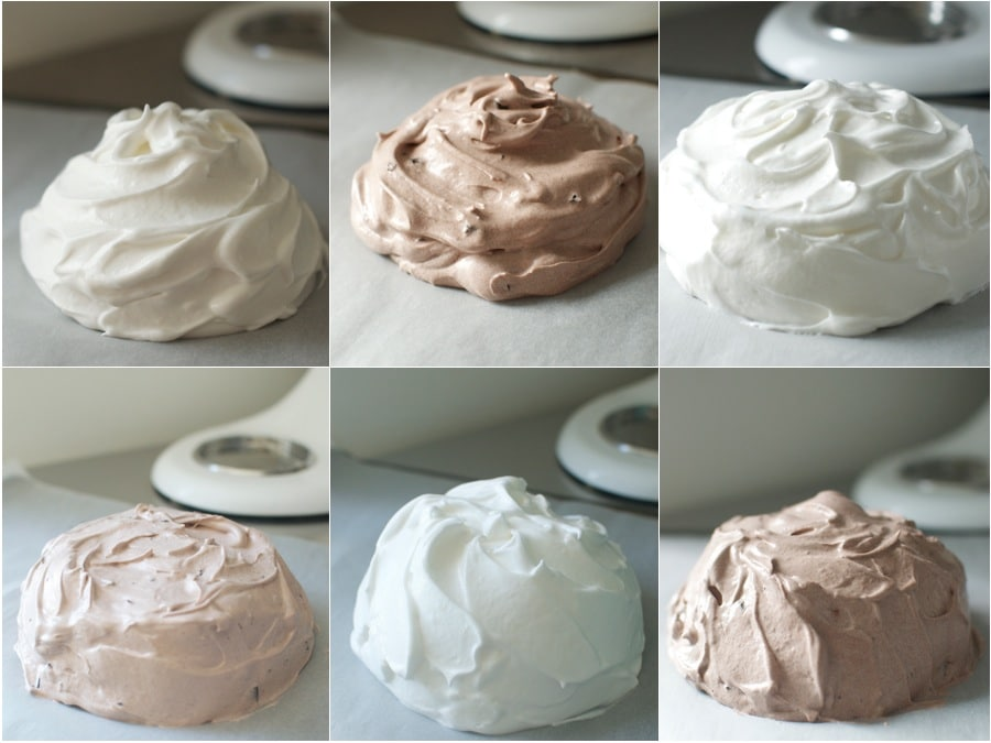 {Some of my many pavlovas before they are ready to go into the oven. If you have egg whites stored in the freezer, you can make a pavlova within minutes with some pantry staples. A chocolate pavlova is a lovely variation.}