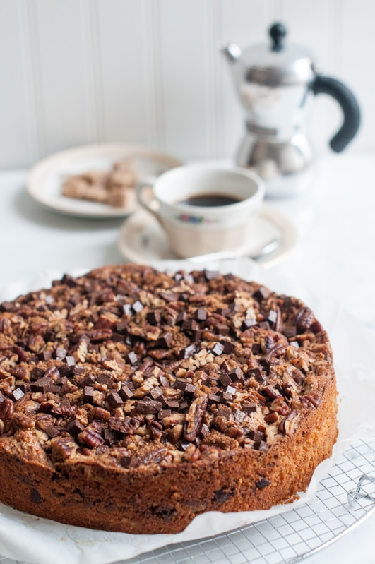 pecan spice cake with coffee pot