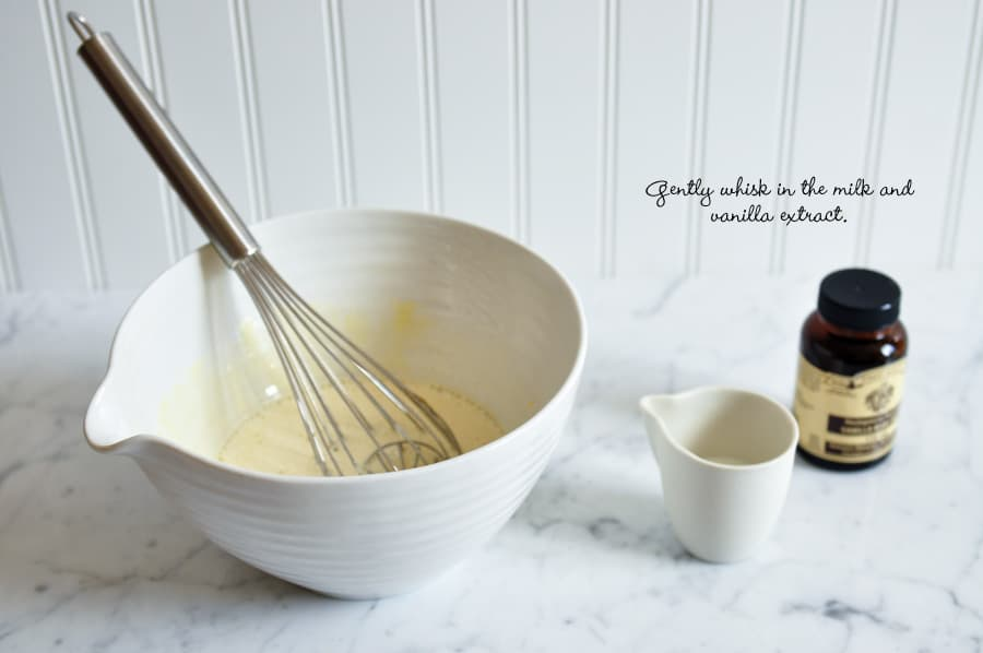 mixing bowl with whisk and vanilla extract