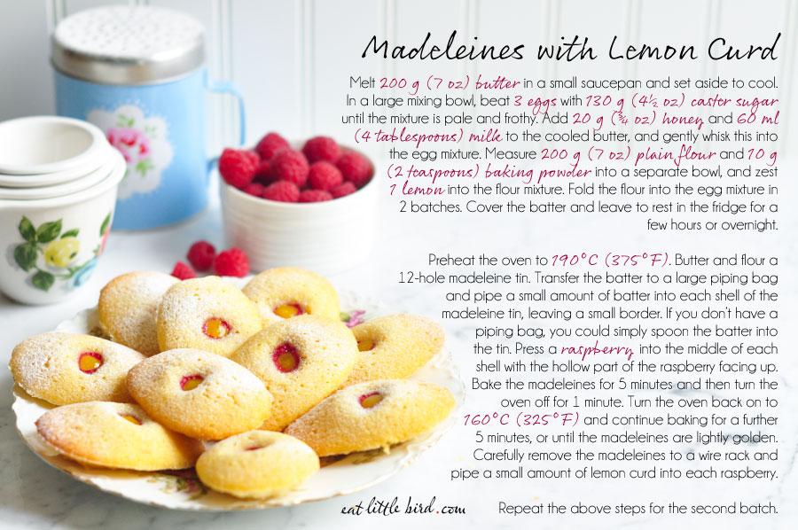 madeleines lemon curd raspberries rachel khoo