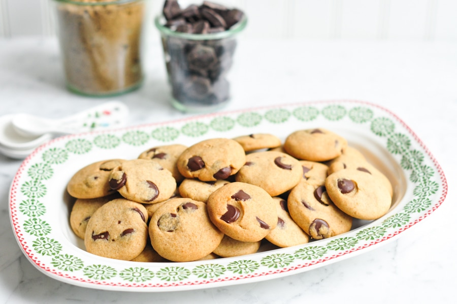 chocolate chip gingerbread cookies on sophie conran plate
