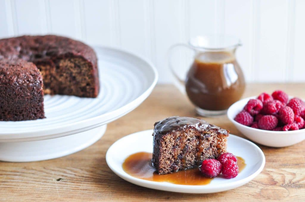 slice of sticky date pudding with butterscotch sauce
