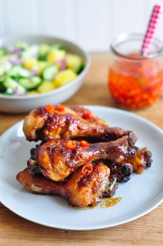 sticky chicken drumsticks with pickled chillies