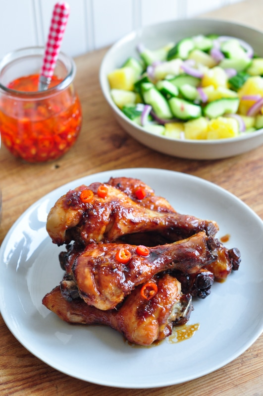 sticky chicken with malaysian salad