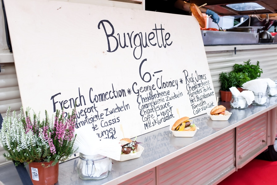 {Burguette, a marriage between a burger and a baguette. Love the George Clooney option!}