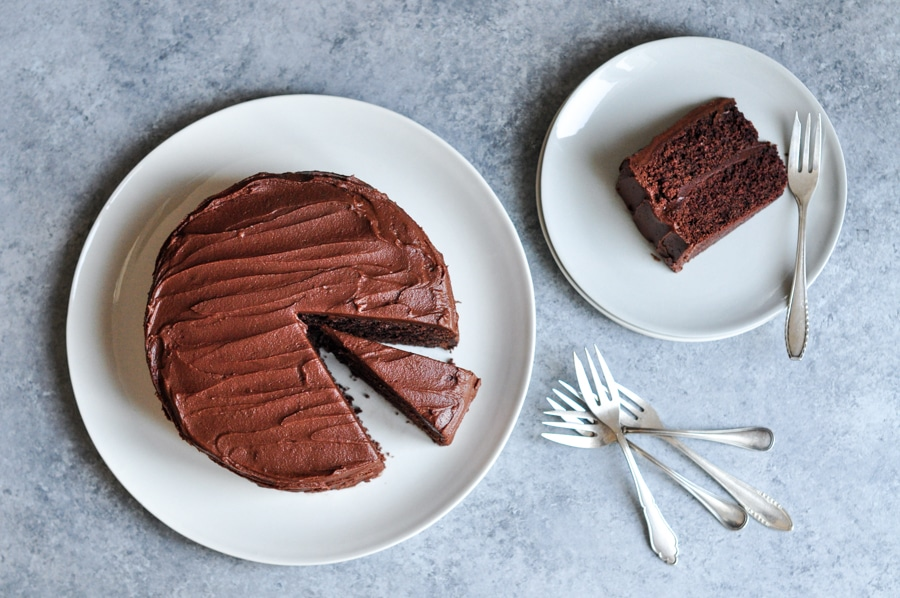 sour cream chocolate cake with vintage forks
