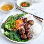 bun cha vietnamese pork meatballs vermicelli noodle salad