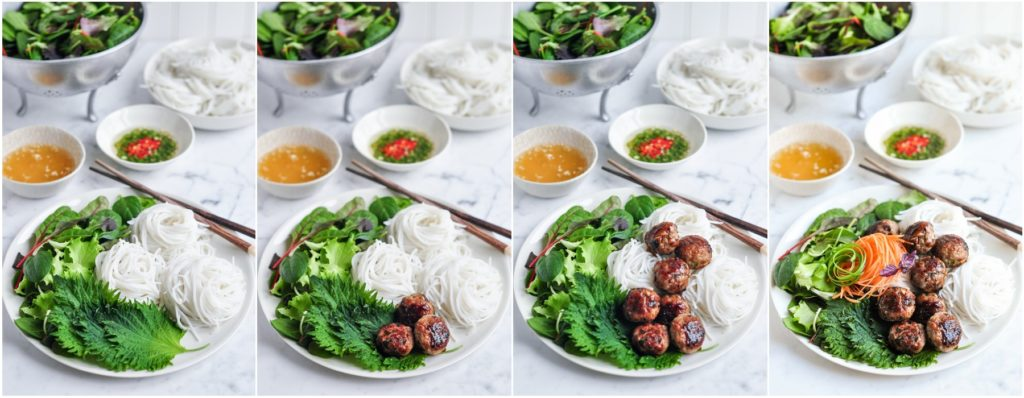 step by step photos for assembling bun cha
