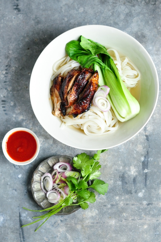 sticky chicken pho with fresh herbs on plate