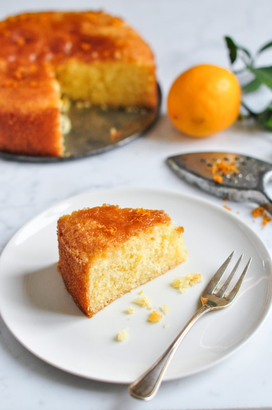 meyer lemon cake on plate