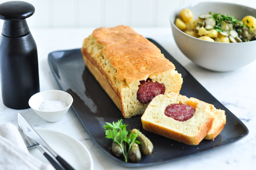 lyonnaise sausage roll with salt and pepper shaker