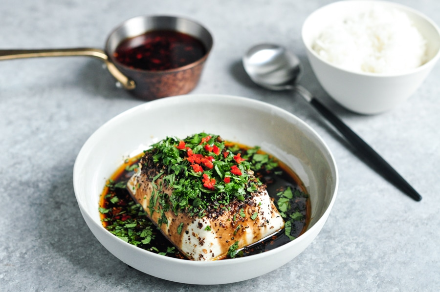 steamed tofu with soy chillies sichuan pepper with bowl of rice