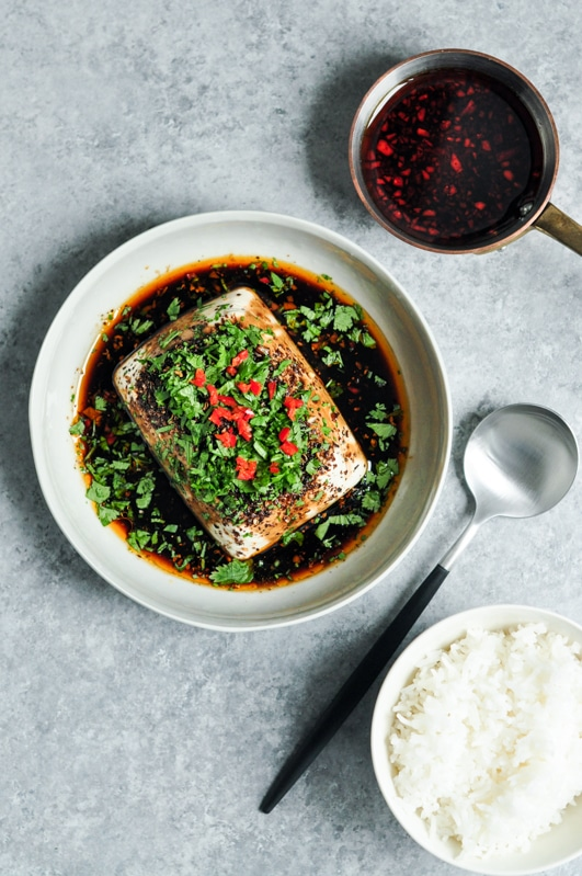 steamed tofu with soy chillies sichuan pepper with sprinkled cilantro