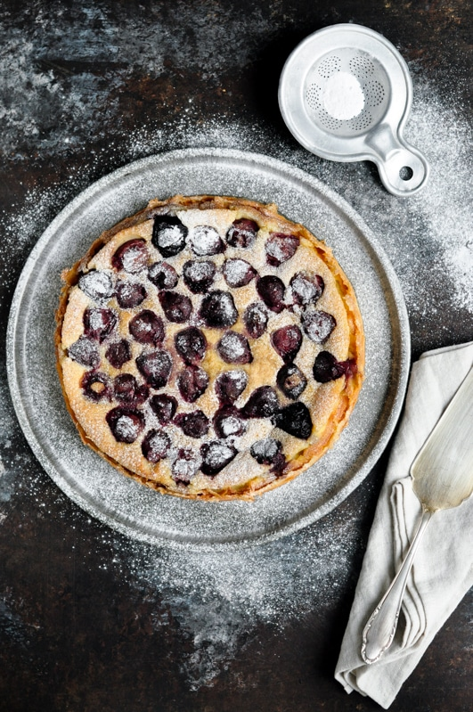 cherry clafoutis with powdered sugar
