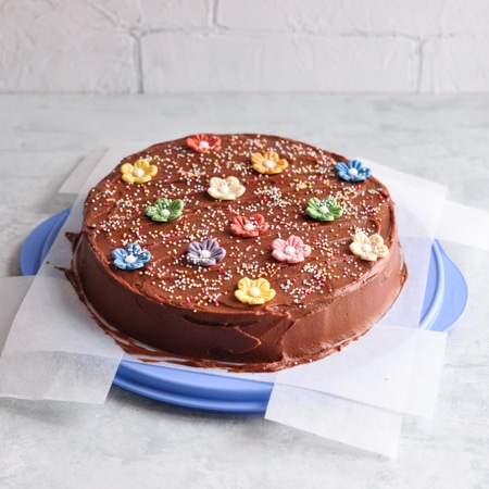 easy chocolate cake on tupperware cake container