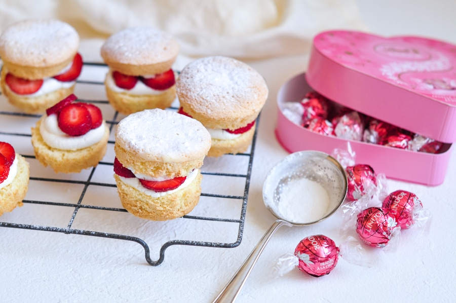 strawberry shortcake cakes with box of lindt lindor truffles