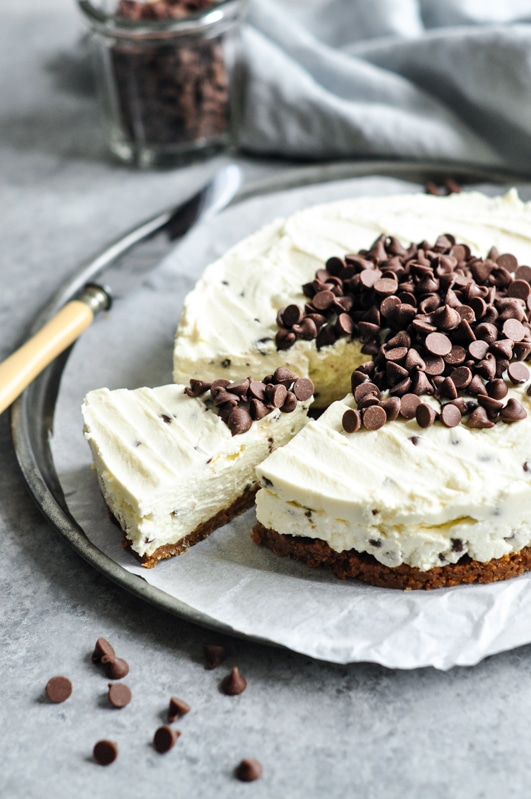 chocolate chip cheesecake sliced on tray