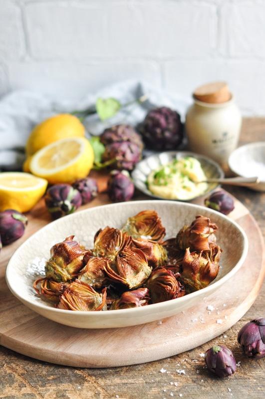 roman style fried artichokes on wooden board