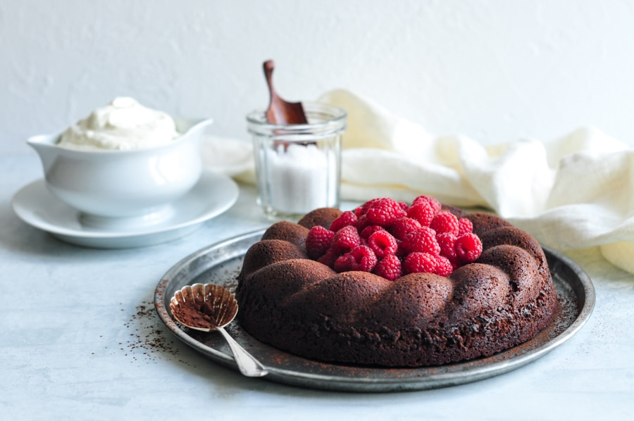 salted butter chocolate cake with dusted cocoa