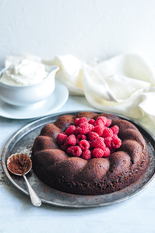 salted butter chocolate cake with whipped cream