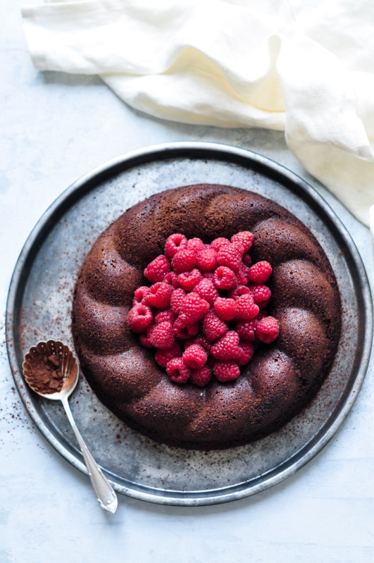 salted butter chocolate cake on metal tray