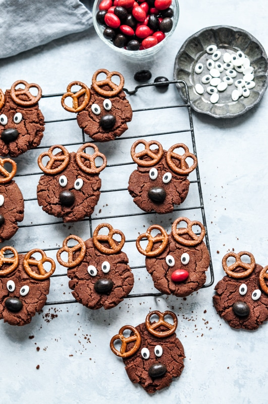 reindeer cookies with chocolate coated peanuts